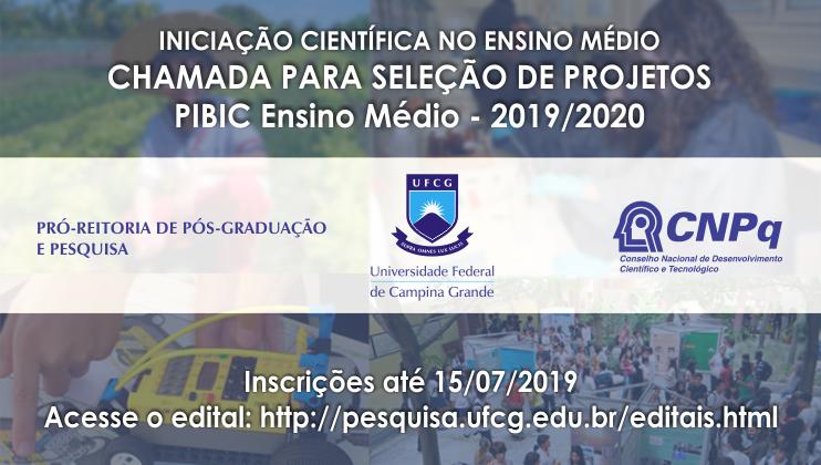 UFCG lança edital para projetos de Iniciação Científica no Ensino Médio